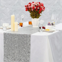 Chemin de table Venise Sequins Argent