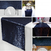 Chemin de table Venise Sequins Marine
