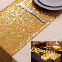 Chemin de table Venise Sequins Or