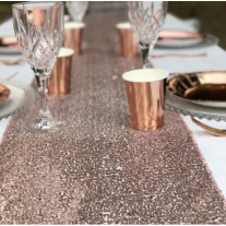 Chemin de table Venise Sequins Rose Gold