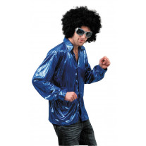 Chemise Disco Night Fever Bleu