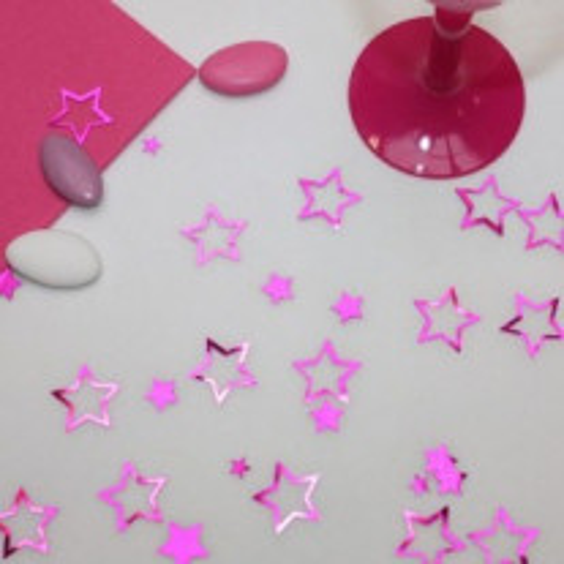 Confettis d'étoiles pailletées Fuchsia