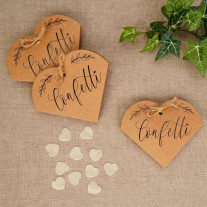 Confettis de table coeur kraft naturel