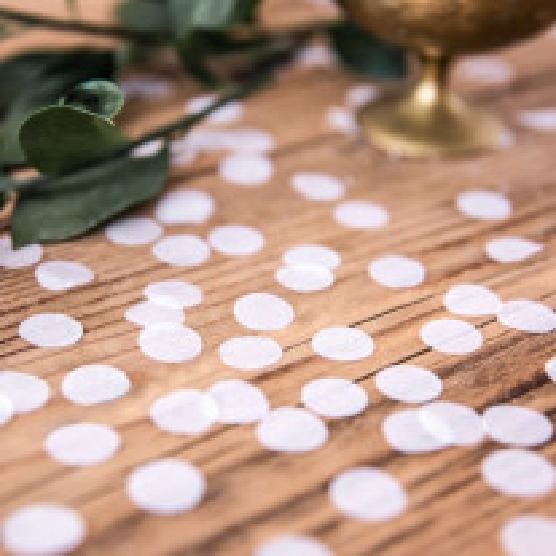 Confettis mariage cercle rond blanc