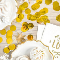 Confettis mariage cercle rond Or