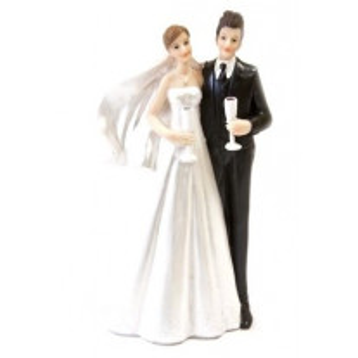 Couple de mariés avec flute de champagne
