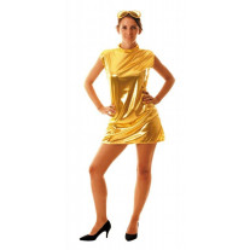 Déguisement Femme Robe Metallique Or