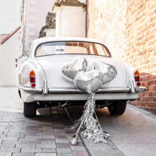 Decoration mariage voiture Coeur Argent pas cher