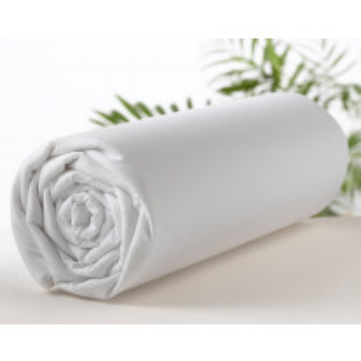Drap housse percale 160x200 cm Blanc 100 % coton