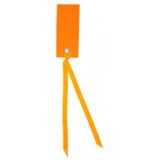 Etiquette rectangle Orange avec ruban