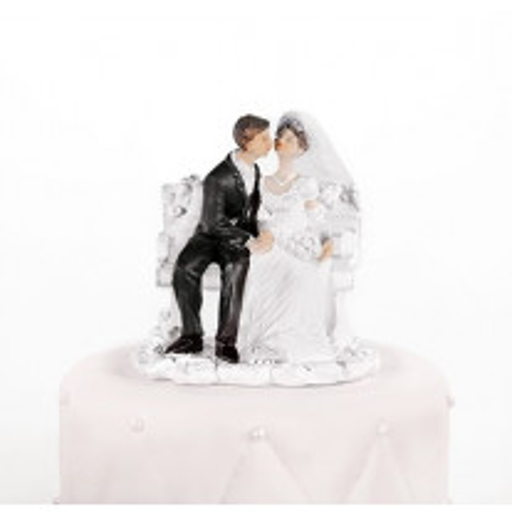 Figurine Couple de Mariés sur Banc