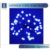 Grappe suspension de noel lumineuse 54 LED Bleu