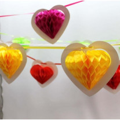 Guirlande 10 coeurs jaune sur ruban