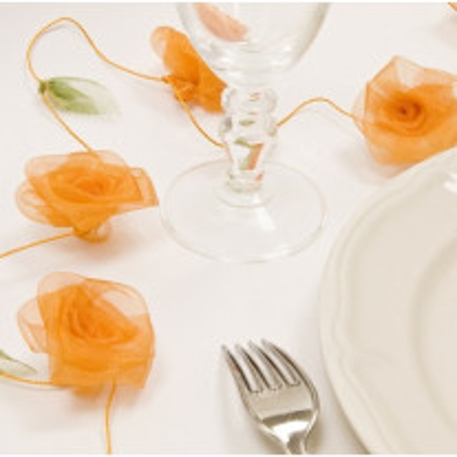 Guirlande de rose en Organza Orange