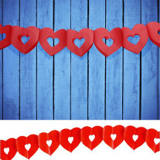 Guirlande en papier avec Coeur Rouge