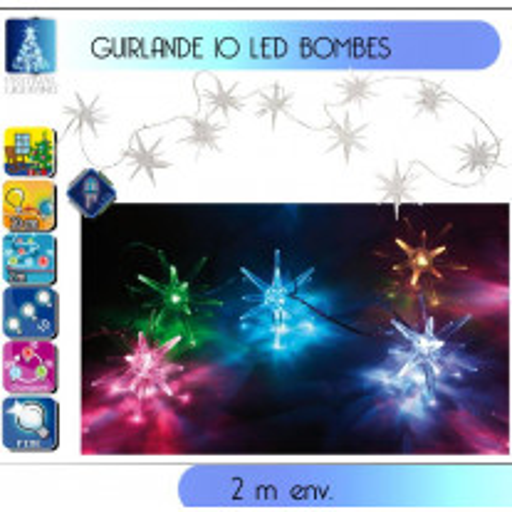 Guirlande lumineuse de Noel 10 LED bombes couleurs changeante