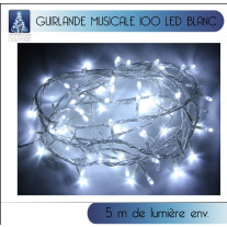 Guirlande lumineuse musicale 100 LED Blanc froid