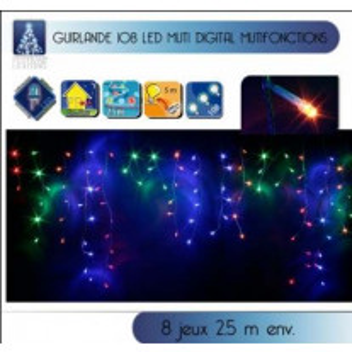 Guirlande lumineuse stalactite Extérieur 108 LED Multicolore