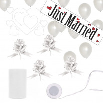 Kit Decoration Mariage Géant Just Married Blanc