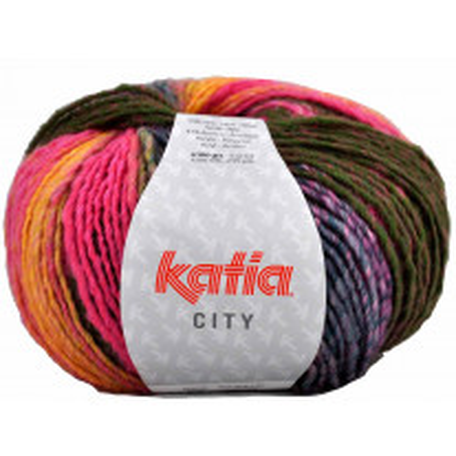 Pelote de laine Katia City Rose Bleu