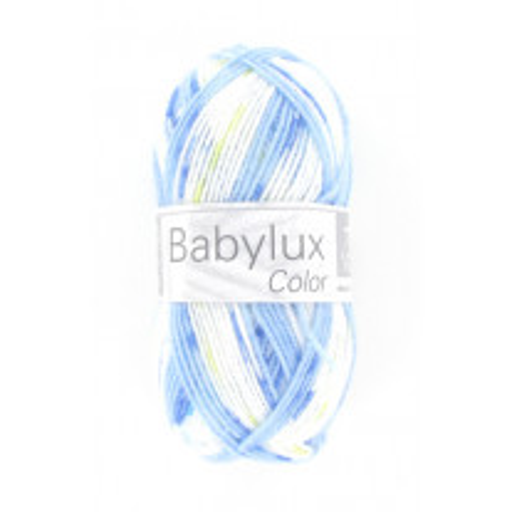 Laine layette a tricoter Babylux color Blanc Jaune Bleu