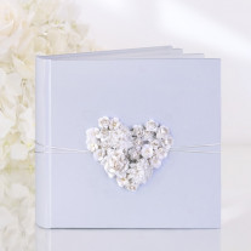 Livre d'or mariage avec coeur en raphia Blanc