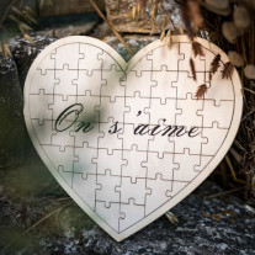 Livre d'or puzzle coeur en bois on s'aime