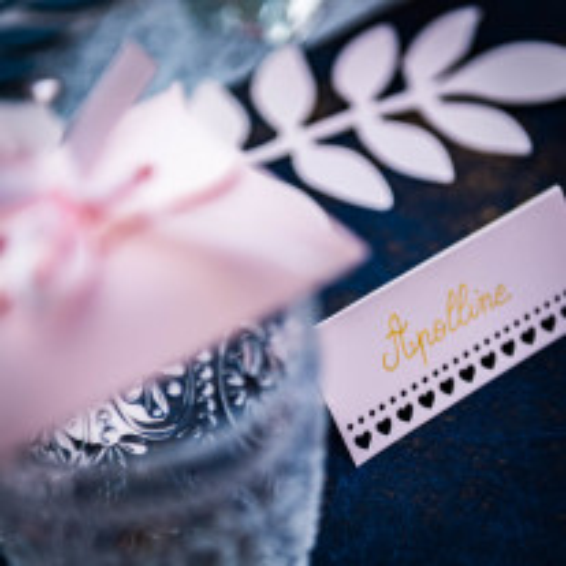 Marque place carton avec petits coeurs Rose