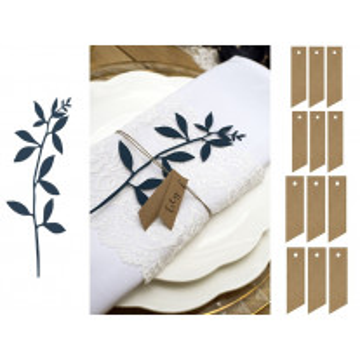 Marque place etiquette naturel avec feuilles bleu marine