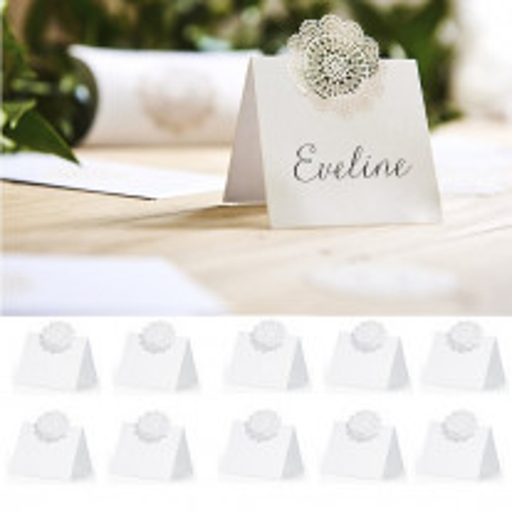 Marque place mariage en carton avec Rosette
