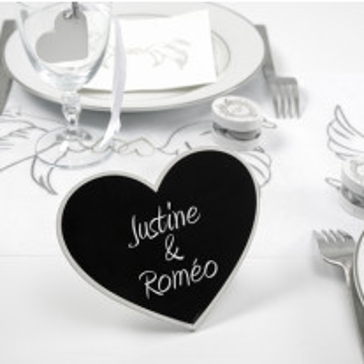 Marque Table Coeur ardoise Blanc