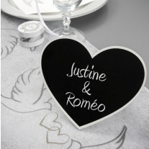 Marque Table Coeur en ardoise (Badaboum)