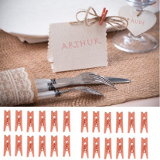 Mini pince à linge mariage Corail
