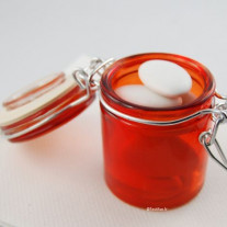 Mini pot a dragées confiture en verre Rouge