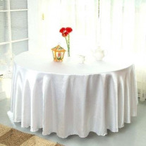 Nappe mariage en satin blanc ronde 240cm