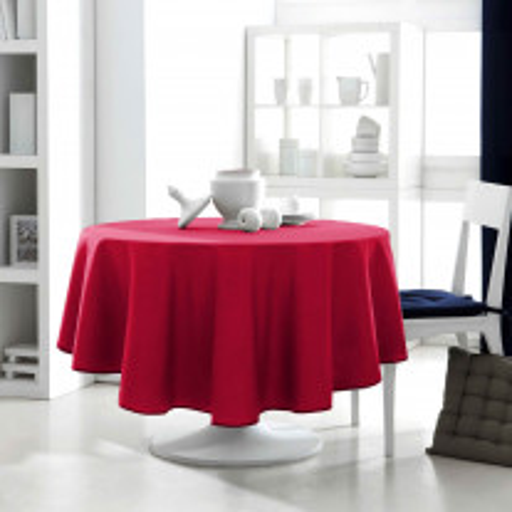 Nappe ronde rouge anti tache 180 cm en tissu