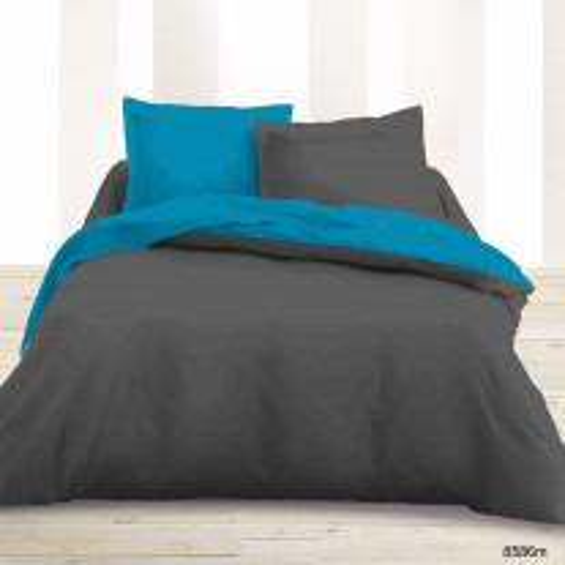 Parure de lit 2 personne bicolore Turquoise Gris foncé
