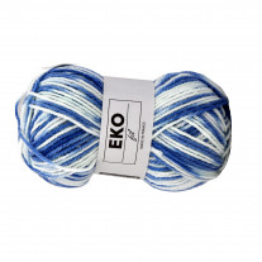 Pelote de laine Eko Fil Bleu Blanc
