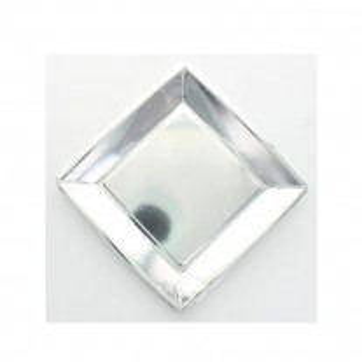 Petite assiette carrée en carton argenté