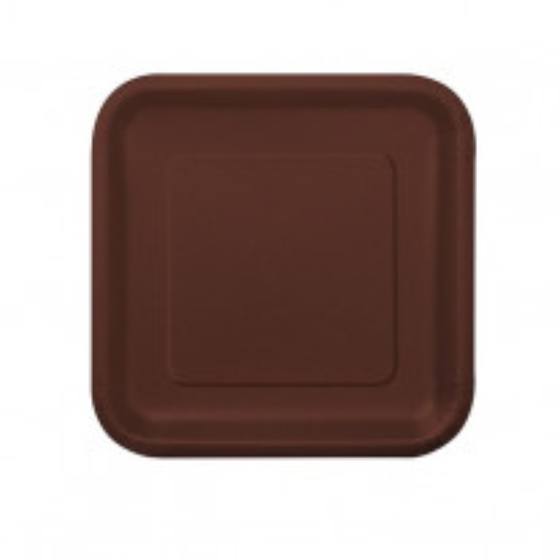 Petite assiette carrée en carton Chocolat 18cm