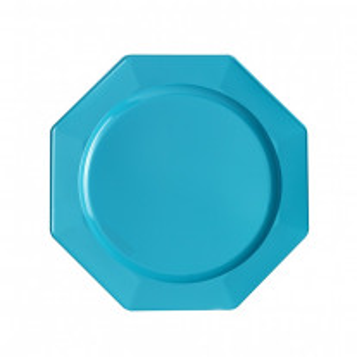 Petite assiette Octogonale plastique Turquoise 18cm