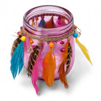 Photophore GYPSY perles et plumes Rose