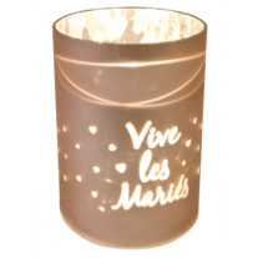 Photophore LED Rose gold Vive les Mariés avec Coeur