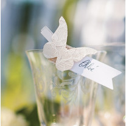 Pince marque place Papillon jute dentelle