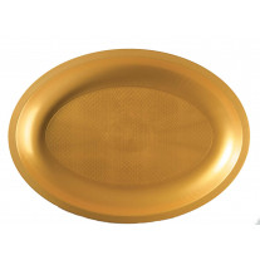 Plateau en plastique ovale Or 32cm