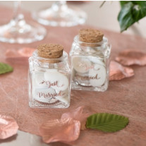 Pot encrier Just Married rose gold en verre transparent