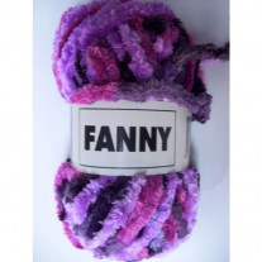 Pelote de laine chenille Fanny multico mauve x3