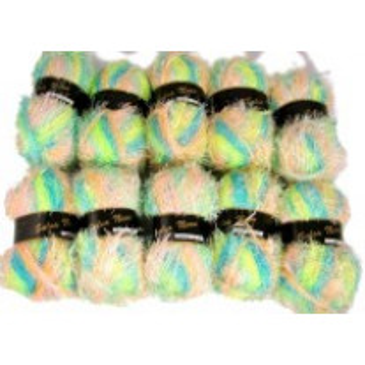10 Pelotes de Fil à Tricoter Vert / Rose / Bleu Néon