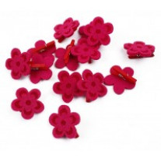 18 Pinces à Linge en bois décor fleurs en feutrine