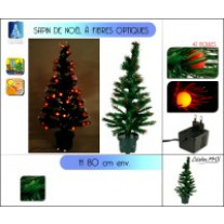 Sapin de Noel fibre optique 42 boules LED Or